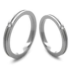 チタンマリッジリング クロスライン入り2.3mm幅 天然ダイヤモンド [R0145-WDA-pair]