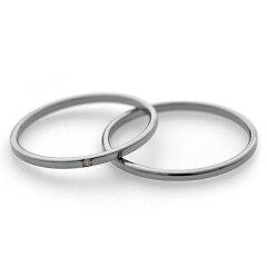 1.5mm幅 シンプルチタンペアリング ナチュラル Lady's天然ダイヤ付き [R0222-XXX-XX&R0222-WDA-XX]