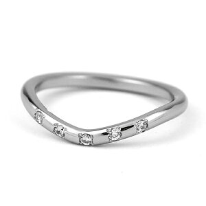 V字ラインチタンリング天然ダイヤモンド5石[R0284-WDA]