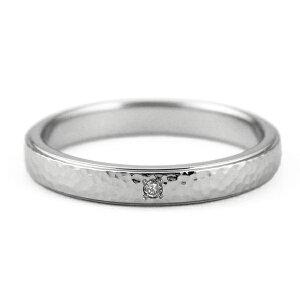 チタンマリッジリング槌目デザイン天然ダイヤモンド[R0285-WDA-pair]