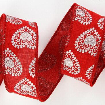 ワイヤートリムリボン ポム レッド <リボン・ラッピング・包装・プレゼント・ハンドメイド・DIY・フラワーアレンジメント>