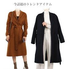 女性大人上品オフィス通勤お洒落ベルト付きフリーサイズ秋冬ナチュラルブラックブラウンハンドメイドコート