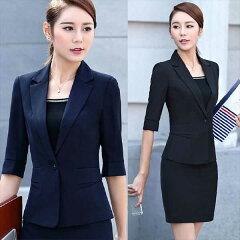 レディーススーツ5分袖ジャケットS〜4L大きいサイズOL通勤通学面接ビジネス新品【福袋除外商品】