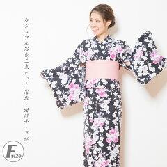 【選べる福袋対象商品】カジュアル浴衣3点セット浴衣・付け帯・下駄