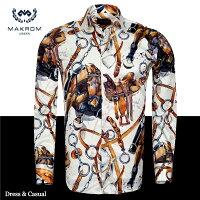【送料無料】MAKROMドレス&カジュアルシャツ/ホースライディング6776(PremiumDesign)乗馬が大きく描かれたプレミアム柄プレゼントにも最高です!マクロム・マジックお楽しみください