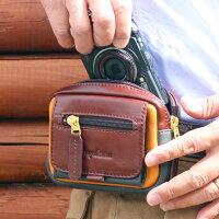 コンパクトなカメラポーチ|革鞄|革製ミニポーチ|散歩
