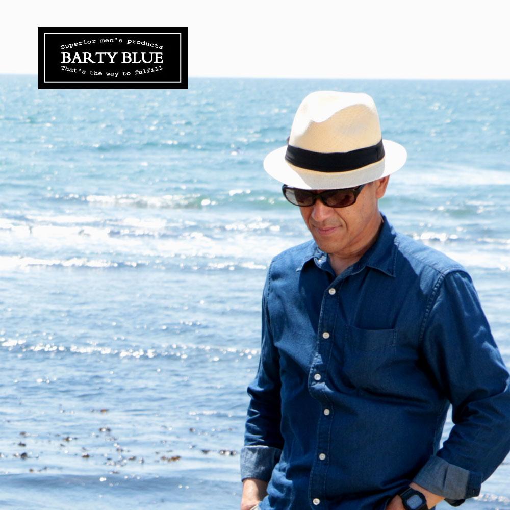 送料無料【公式パナマハット・エクアドル産】「Barty Blue / バーティーアップ」ツバが短めのパナマハット 初めての方にも被りやすいショートブリム 1cm毎のサイズ選びOK 名入れ可能 オフィシャル証明書付き