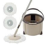 フロアモップフローリング回転モップクロス2枚付き取替バケツ付き洗浄脱水乾拭き水拭き掃除軽量床に優しい