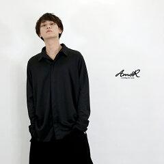 『AmoR』フライフロントシャツメンズアウターロング丈黒長袖ブラックモード系AmoR艶黒