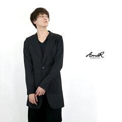 『AmoR』長袖ロングジャケットメンズトップス黒カジュアルスーツブラックモード系AmoR艶黒