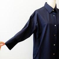 PUPULAププラシャドーストライプロングシャツ(pp016)