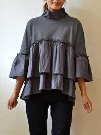 イリゼ(IRISE)裾タックシャンブレースリットネックブラウス(ir004)