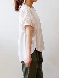 パシオーネ(PASSIONE)ボリューム袖が可愛いカットソー地の半袖ブラウス(pa056)
