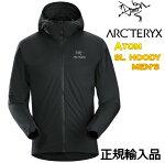 ARC'TERYXATOMSLHOODYMensBLACKアークテリクスアウトドアジャケットフードインサレーションジャケットミッドレイヤーL07380500