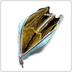 クロムハーツ財布(ChromeHearts)RECFZIP#2プレーン・ターコイズ・レーザード・レザー(ノベルティレザー)(ブランド)(長財布)
