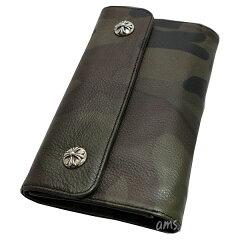 クロムハーツ財布(ChromeHearts)ウェーブ・ウォレット・クロスボタン・タンクカモヘビーレザー(メンズ)(クロム・ハーツ)(長財布)