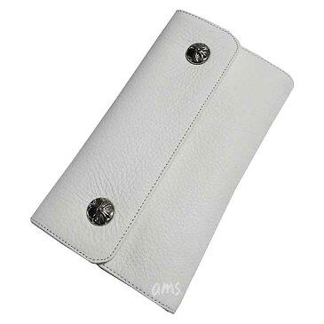 クロムハーツ 財布(Chrome Hearts)ウェーブ・ウォレット・クロスボタン・ホワイトヘビーレザー・ロジウム・プレーテッド(クロム・ハーツ)(長財布)