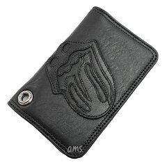 クロムハーツ財布(ChromeHearts)カードケース#2・GRMT/スクロール・リップ&タンレザーパッチ・ブラック・ヘビーレザーウォレット(ローリングストーンズ)(クロム・ハーツ)(名刺入れ)