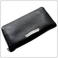 クロムハーツ財布(ChromeHearts)RECFZIP#2レザーステッチドBSフレアブラックヘビーレザーウォレット(メンズ)(長財布)