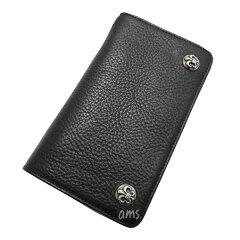 クロムハーツ・財布(Chrome・Hearts)1ジップ・BSフレアボタンブラック・ヘビーレザーウォレット()(メンズ)(クロム・ハーツ)(長財布)