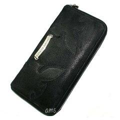 クロムハーツ財布(ChromeHearts)REC・F・ZIP#3ダブルフレアニーブラックデストロイレザーウォレット(メンズ)(クロム・ハーツ)(長財布)
