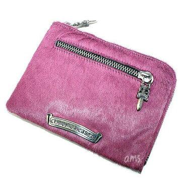 クロムハーツ 財布(Chrome Hearts)2サイド ジップ ウォレット 3クロス パッチーズ プラム カウヘアー(メンズ)(クロム・ハーツ)