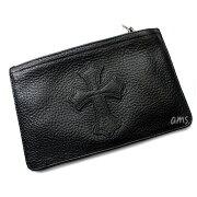 クロムハーツ財布(ChromeHearts)ウォレットジッパーチェンジパース#2ブラックヘビーレザーセメタリーパッチ(メンズ)(長財布)