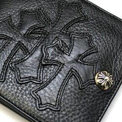 クロムハーツ財布(ChromeHearts)ワンスナップ・クロスボタンブラック・ヘビーレザーウォレット・セメタリーパッチーズ