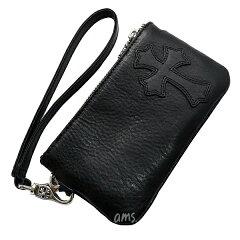 クロムハーツ財布(ChromeHearts)ジッパーチェンジパース・リストレット・BK・ヘビーレザー・セメタリークロスパッチ