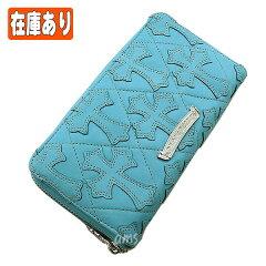クロムハーツ財布(ChromeHearts)REC・F・ZIP#2・キルティングセメタリークロス・ターコイズ・ライトレザー・ロジウム・プレーテッド(クロム・ハーツ)(長財布)