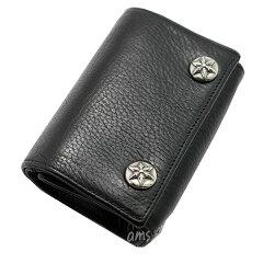 クロムハーツ財布(ChromeHearts)3フォールド・スターボタンズ・ブラック・ヘビーレザーウォレット(メンズ)(クロム・ハーツ)(コンパクトウォレット)
