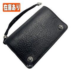 クロムハーツ・財布(Chrome・Hearts)2ジップ・クロスボタンズ/ストラップブラック・ヘビーレザーウォレット()(メンズ)(クロム・ハーツ)(長財布)