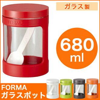 調味罐玻璃罐存儲容器 680 毫升 ASVEL 紅色紅色 asbel 變型變型完全包裝與密封