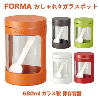 調味罐玻璃罐存儲容器 680 毫升 ASVEL 橙色橙色 asbel 變型變型完全包裝與密封