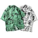アロハハワイアンシャツメンズ半袖シャツ開襟シャツ総柄スカルホワイトグリーン