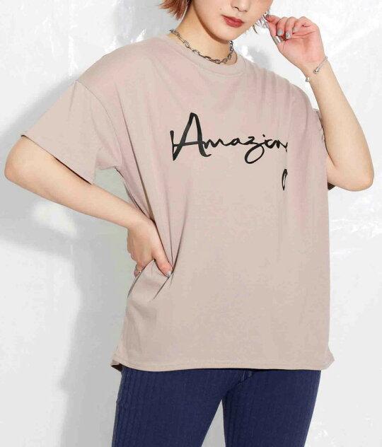 英字プリントバックロングデザインTシャツ