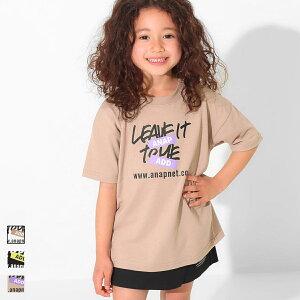 【10%OFF】ANAP KIDS アナップキッズ 吸水速乾手書きプリントビッグTシャツ キッズ 春夏 トップス Tシャツ チュニック オフホワイト/ブラック/ベージュ S/M/L tシャツ