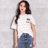 【45%OFF】ANAP GiRL アナップガール カラーボーダービッグTシャツ ガール 春夏 トップス Tシャツ 中学生 ファッション ティーンズ 韓国 オレンジ/ラベンダー S/M tシャツ