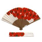 手ぬぐい扇子「まっかなトマト」布製/袋付き/ギフト/japanese Hand fan/海外へのお土産に/とまと/tomato/野菜