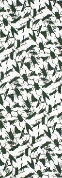 手ぬぐい「昆虫ユニットA 緑」カブトムシ/クワガタ/セミ/テントウムシ/チョウ/トンボ/ミツバチ/ハチ/カマキリ/バッタ/オンブバッタ/コオロギ/手拭/手拭い/てぬぐい