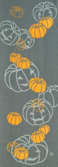 手ぬぐい「おばけかぼちゃ グレー」ハロウィン/Halloween/ジャック・オ・ランタン/かぼちゃ/オバケ/てぬぐいの写真