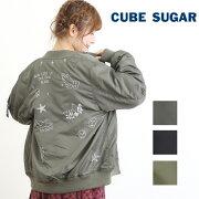CUBESUGAR(キューブシュガー)ナイロンツイル×ボアリバーシブル刺繍入りMA-1
