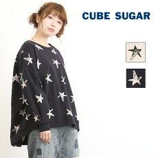 CUBESUGAR(キューブシュガー)/裏毛スター柄ビッグプルオーバータックスリーブ