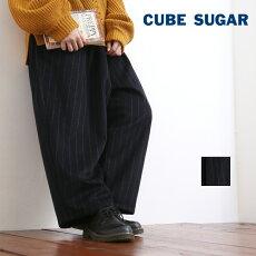 CUBESUGAR(キューブシュガー)ストライプ柄ウール9分丈イージーワイドパンツ