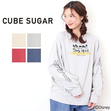 【セール除外商品】CUBE SUGAR ミニ裏毛ビッグクルー (4色)【キューブシュガー】【レディース】【TAG】【4U】【スウェット】【ディズニー】