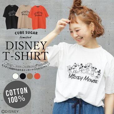 【セール除外商品】CUBE SUGAR 20/-天竺ミッキーデザイン クルーTシャツ (4色)【レディース】【キューブシュガー】【4U】