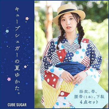 【セール除外商品】CUBE SUGAR カラフルドットストライプ浴衣(1色)【レディース】【TAG】【水玉】【ゆかた】