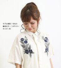 60/-シジラフラワー刺繍シャツ