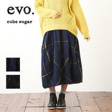 cubesugarevo.(キューブシュガーエボ)綿ビエラウインドペインスカート(2色)【TAG】【PL】