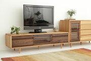 天然木の素材感に人気のボーダースリットのデザインを取り入れたナチュラルモダンなTVボード